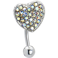 Top Drop Aurora Ritzy Heart Belly Ring | Body Candy Body Jewelry