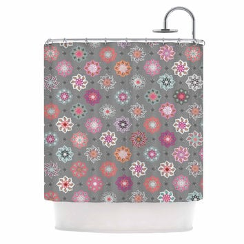 "Jolene Heckman	 ""Mini Floral "" Pink Gray Shower Curtain"