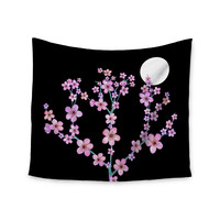 """Julia Grifol """"Cherry Blossom At Night"""" Pink Black Wall Tapestry"""