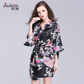 JiaHuiGe Women's Kimono Robe Knee Length Bathrobe Sexy Lingerie Sleepwear Short Satin Lace Nightwear Bridesmaid Robes S-XXL