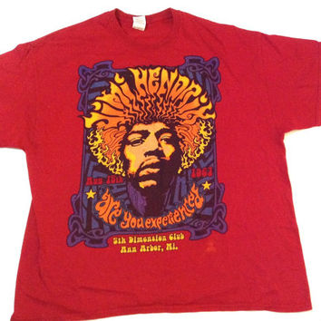 Vintage Jimi Hendrix t-shirt. Red cotton t-shirt. Oversized concert t-shirt