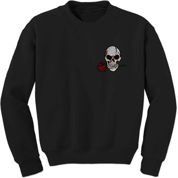 Embroidered Skull with Rose Patch (Pocket Print) Adult Crewneck Sweatshirt