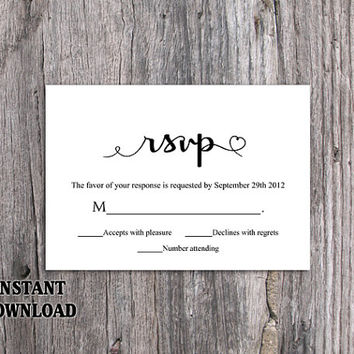 DIY Wedding RSVP Template Editable Word File Instant Download Heart Rsvp Template Printable RSVP Cards Black Rsvp Card Elegant Rsvp Card