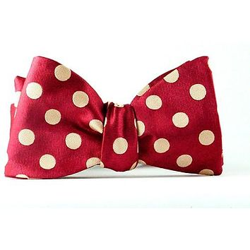 Red Tan Polka Dot Self Tie Bow  & Pocket Square