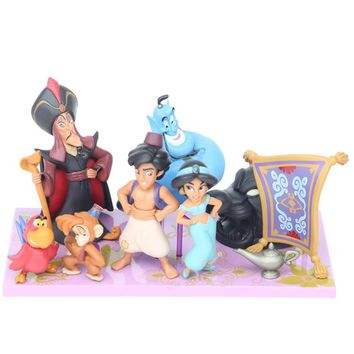 Disney 8 Pcs/Set Aladdin  Pvc Action Figures Cute Cartoon  Princess Jasmine Genie Jafar Mermaid Toys Models Girls Gifts with box