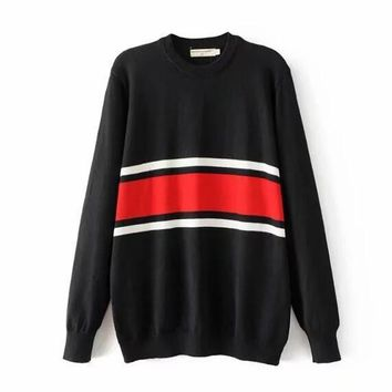 One-nice™ Stripe contrast color sweater girl autumn winter New Jersey knitwear sweater