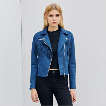 Blue Fringed Suede Jackets New Women Autumn Leather Jackets Slim Short Tassels Jackets Motorcycle Fashion Style