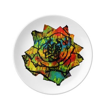 colorful rose plate