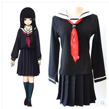 Hell Girl Costume Japanese School Uniform Ai Enma Cosplay Costume Anime Cosplay Wig Ladies Dress