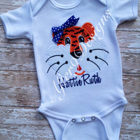 Girls Auburn Tiger Shirt Personalized Appliqué Front and back (other teams also) also available for boys