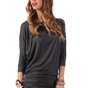 Crazy For You Dolman Top- Heather Grey
