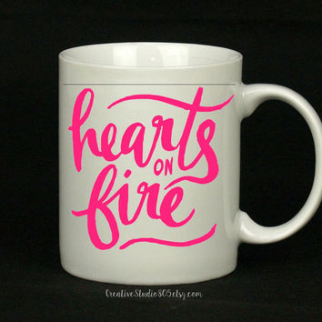 Hearts on Fire - coffee mug - cute coffee cups - unique coffee mug - personalized coffee mug - girly mug - love coffee mug