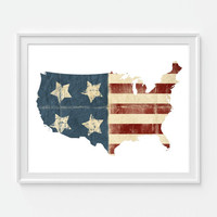 American Flag Map Print, United States Art, America, Vintage Flag, Travel Art Print, 4th of July 8X10 or 11x14 Home Decor Wall Decor