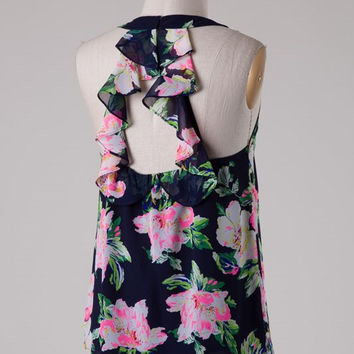 Navy and Neon Pink Floral Ruffle Tank Top