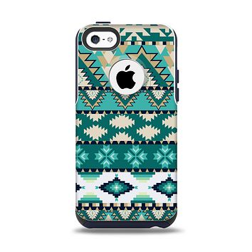 The Vector Teal & Green Aztec Pattern  Apple iPhone 5c Otterbox Commuter Case Skin Set