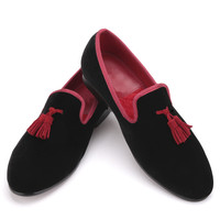 Red and Black Leather Tassel Men loafers