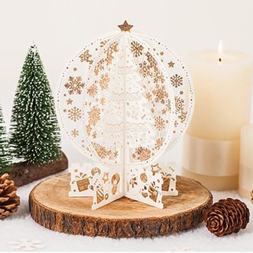 2 pieces/lot Christmas 3d Greeting Card