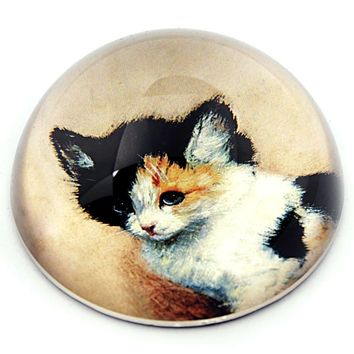 Tabby Cat Portrait Painting by Artist Ronner Knip Glass Dome Paperweight 3W