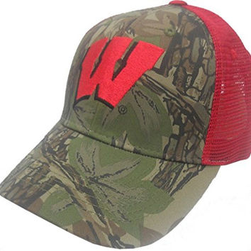 Wisconsin Badgers NCAA Camouflage Embroidered Logo Mesh Back Baseball Hat Cap