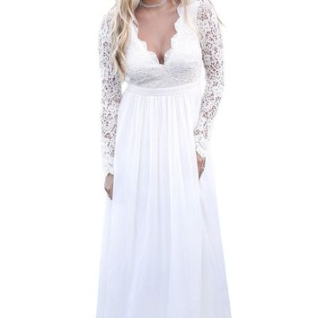 Long Lace Plus Size Dress 2018 Elegant Sexy Gown