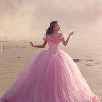 Hot Luxury High Quality Pink Ball Gown Prom Dresses 2016 Long Off The Shoulder Fitted Lace Up Handmade Flower Chapel Train Gowns