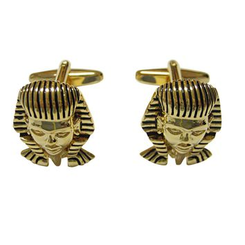 Gold Toned Egyption King Pharaoh Tutankhamun Cufflinks