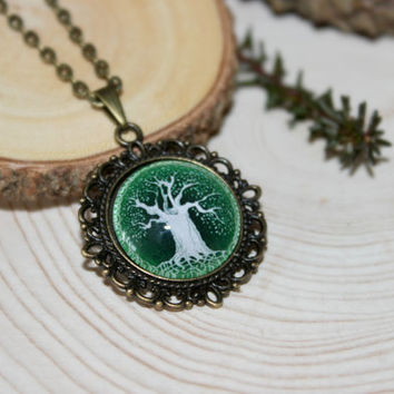 Celtic Tree Of Life Necklace, Antique Bronze Pendant,Glass Cabochon Pendant With Chain