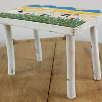 Kids furniture - Wooden small bench - wood small stool - step stool - personalized gift for kids - hand painted  tabouret - sheep lamb print