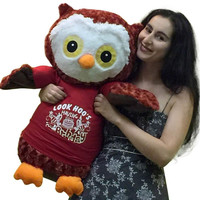 Big Stuffed Owl Wearing T-shirt that says LOOK HOO'S HAVING A BIRTHDAY - 28 I...