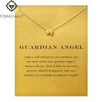 Hot Sale guardian angel angel wings Pendant necklace Clavicle Chains Statement Necklace Women FOMALHAU Jewelry