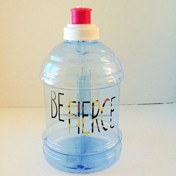 Be Fierce! Water Bottle w/ Leopard Print Vinyl!