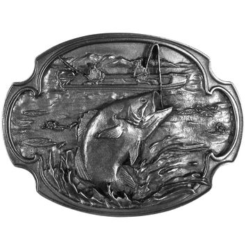 Bass Fishing Antiqued Belt Buckle