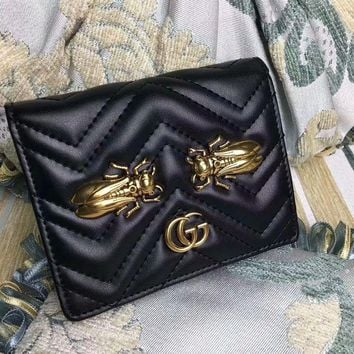 ICIK6HW Gucci' GG Marmont Purse Women Simple Metal Insect Cicada Rivet Quilted Genuine Leather Short Section Fold Wallet