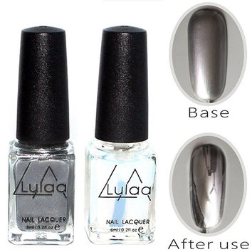 2pc Silver Mirror Effect fashion Metal Nail Polish