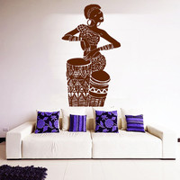 Africa Wall Decal Tribal African Woman Dancer Vinyl Stickers African Dance Fashion Art Murals Boho Interior Design Living Room Decor KI119