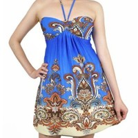 NawtyFox Sexy Halter Style Blue Paisley Summer Party Dress S-XL