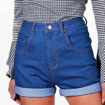 Corina High Waisted Turn Up Denim Shorts | Boohoo
