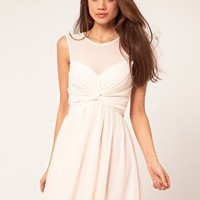 ASOS | ASOS Mesh Skater Dress With Twist Front at ASOS