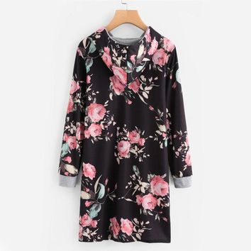 Floral Print Sweatshirt Dress  Multicolor Tunic Short Dress Long Sleeve Hoodie Dress