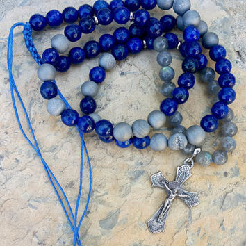 Men's Necklace  Sterling Silver Cross Necklace Beaded Necklace Catholic Rosary Necklace Lapis Labradorite Geode Metallic Agate Bead Necklace