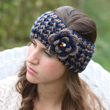 Headband - Large Flower,Navy Blue, Tan, Brown , Wood Beads, Knitted , Crochet, Knit ,infinity, Wide Headband, Turban, Christmas Gift
