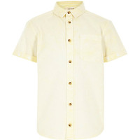 River Island Boys yellow acid wash short sleeve shirt