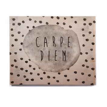 "Vasare Nar ""Carpe Diem"" Quote Gray Birchwood Wall Art"