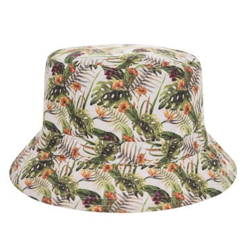 Tropical Flowers Hawaiian Adult Unisex Green & Beige Casual Summer Beach Flat Bucket Hat