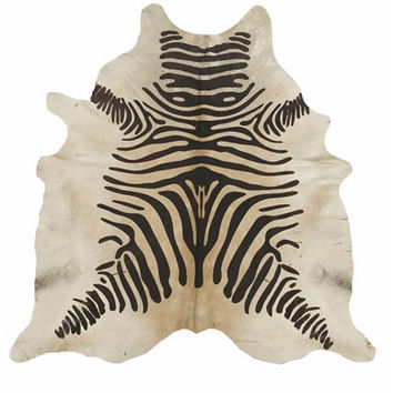 Zebra Brown on Beige Brazilian Cowhide Rug