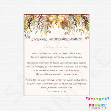 Envelope Addressing Station Sign, Fall Baby Shower, Rustic Boho, Watercolor, Printable, Write Your Address, Instant Download, Girl, Boy FF01