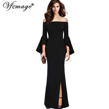 Vfemage Womens Sexy Elegant Flare Bell Sleeves Off Shoulder High Slit Formal Evening Party Bodycon Sheath Maxi Long Dress 18565