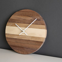 "Handcrafted 9"" modern round wall clock with white hands"