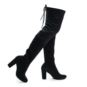 Snivy BlackSuede OTK Over The Knee Thigh High Slouchy Boots w/ Back Lace Tie & Block Heel
