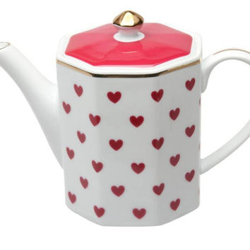 Red Heart Porcelain Teapot